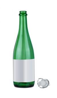 Bouteille de vin et bouchon de vin en plastique isolé sur fond blanc
