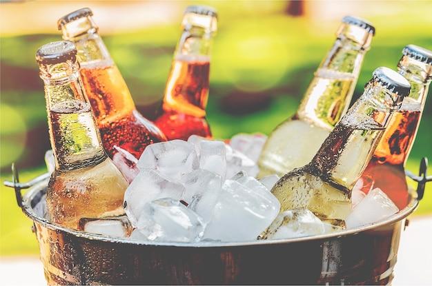 Bouteilles de bière froide et fraîche