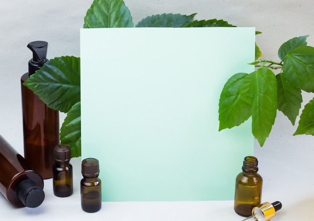 Bouteilles cosmétiques sombres et feuilles naturelles vertes sur fond clair
