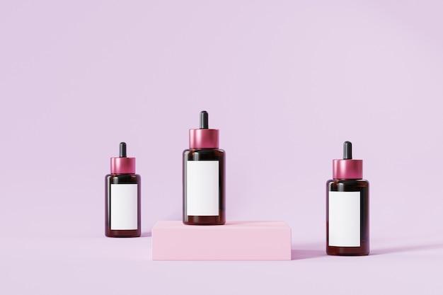 Bouteilles avec étiquettes pour produits cosmétiques sur surface rose