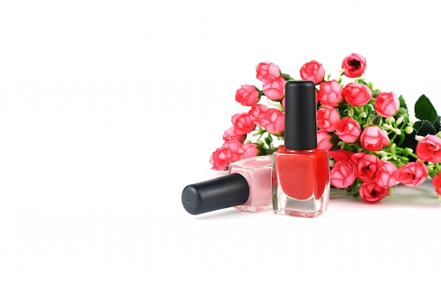 Bouteilles de mode avec vernis gel rouge pour ongles féminins