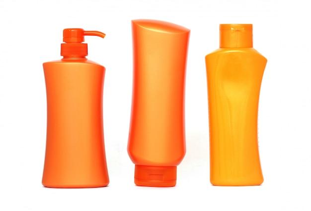 Bouteilles en plastique de produits de soin du corps et de beauté