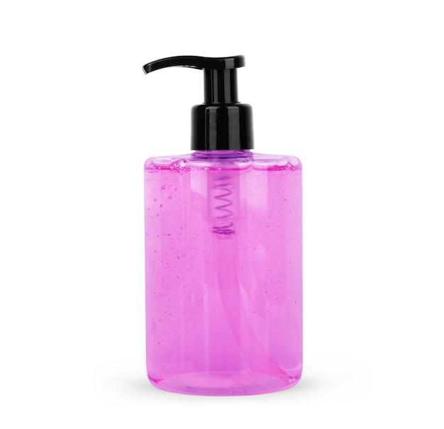 Bouteilles en plastique violet pour salle de bain sur fond blanc