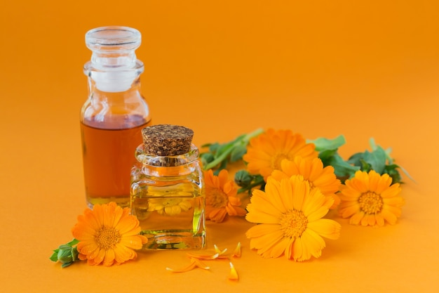 Bouteilles de teinture de souci ou infusion et huile essentielle avec une fleur de calendula fraîche sur orange