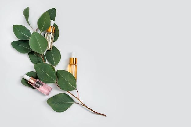 Bouteilles en verre d'essence de soins de la peau avec des feuilles d'eucalyptus naturelles sur fond clair, vitamines pour la peau