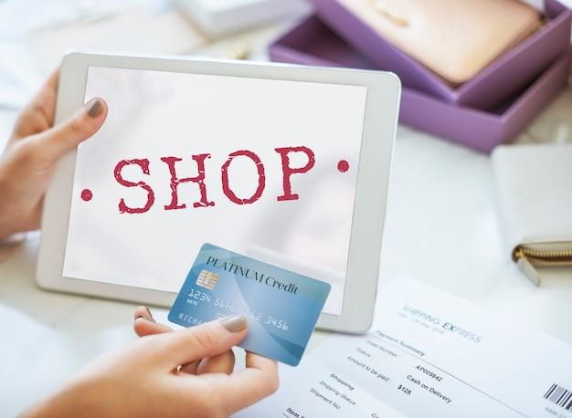 Boutique achat vente au détail achat concept graphique