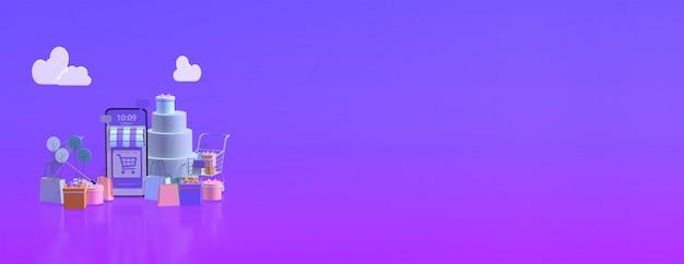 Boutique e-commerce en ligne 3d avec espace de copie