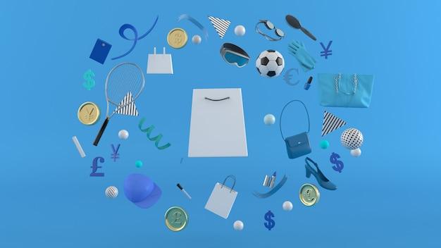 Boutique en ligne, sacs à provisions, portefeuille, banques et pièces au milieu de boules colorées