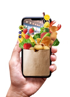 Boutique en ligne sur téléphone mobile