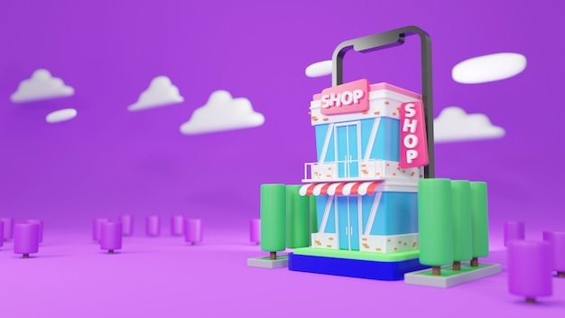 Boutique de rendu 3d avec arbres et nuages sur fond violet