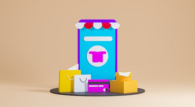 Boutique de rendu 3d avec des sacs à provisions et des achats en ligne de cartes de crédit sur fond beige