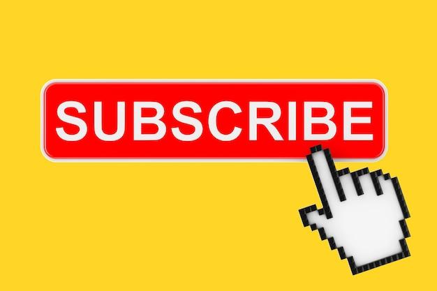 Bouton d'abonnement avec pixel icon hand sur fond jaune. rendu 3d