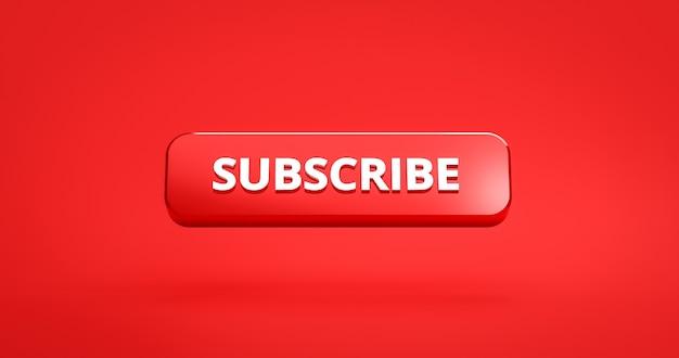 Bouton d'abonnement rouge rendu 3d sur fond rouge