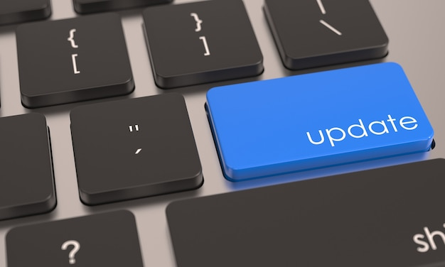Bouton clé de mise à jour bleu sur le clavier de l'ordinateur améliorer l'icône de réparation ou de mise à niveau concept de bureau d'affaires