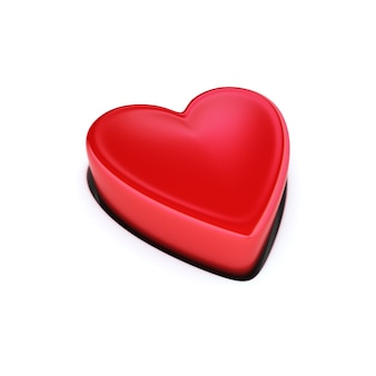 Bouton coeur rouge isolé sur blanc