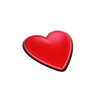 Bouton coeur rouge pressé isolé