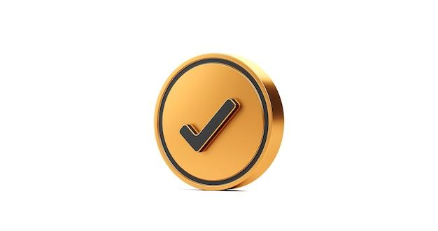 Bouton d'icône de coche de coche d'or et symbole oui ou approuvé isolé sur fond blanc de la liste de contrôle de confirmation de signe correct avec boîte de réussite de l'accord. rendu 3d.