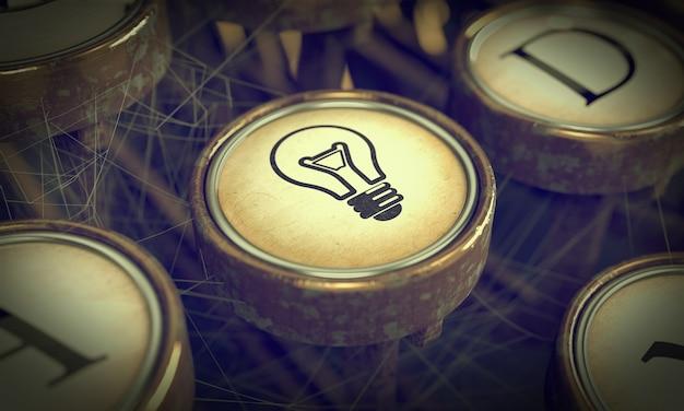 Bouton de lampe sur la touche de la vieille machine à écrire