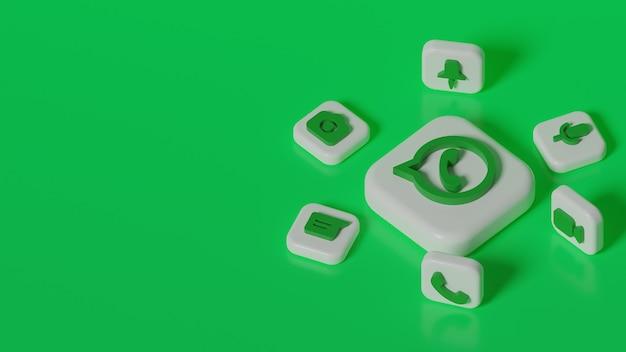 Bouton de logo whatsapp rendu 3d avec fond d'icônes de chat