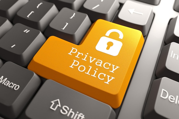Bouton de politique de confidentialité orange avec l'icône de cadenas sur le clavier de l'ordinateur. concept internet. rendu 3d.