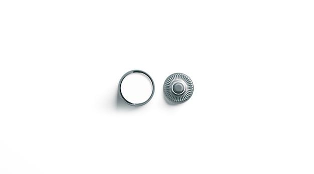 Bouton-pression en métal blanc blanc isolé