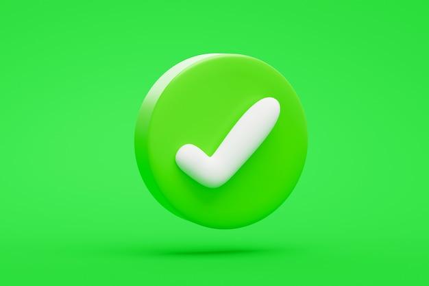 Bouton ou symbole d'icône de marque correcte verte sur le rendu 3d de fond vert