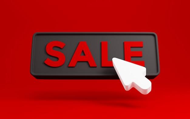 Bouton de vente vendredi noir 3d avec curseur flèche de clic. concept de remise de conception de bannière de vente. rendu 3d