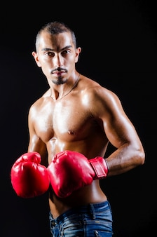 Boxer déchiré dans le concept sportif