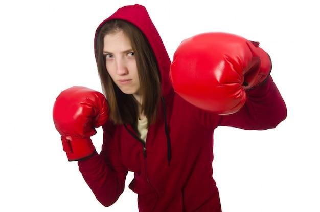 Boxer femme isolée sur le blanc