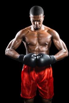 Boxeur, poser, après, échec