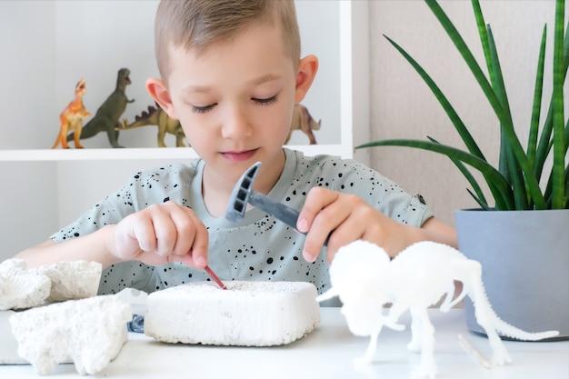 Boy est engagé dans l'excavation de dinosaures. jeu éducatif avec les enfants. un enfant déterre les os d'un dinosaure. développement de la persévérance et de la motricité fine. garçon heureux