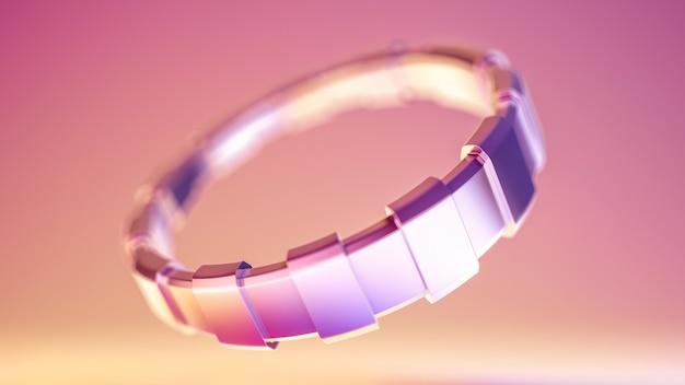 Bracelet en argent. illustration 3d, rendu 3d.