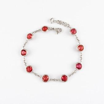 Bracelet en or blanc avec pierres précieuses rubis rouge