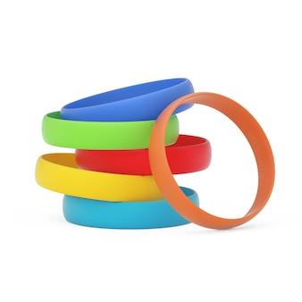 Bracelets en silicone ou en caoutchouc multicolores promo vierges sur fond blanc. rendu 3d