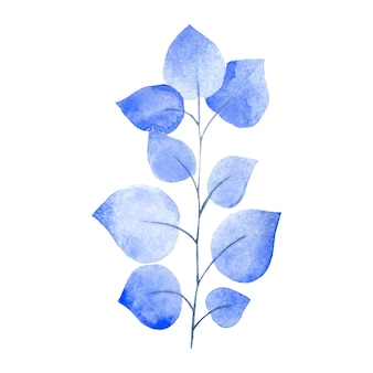 Branche d'aquarelle avec des feuilles bleues