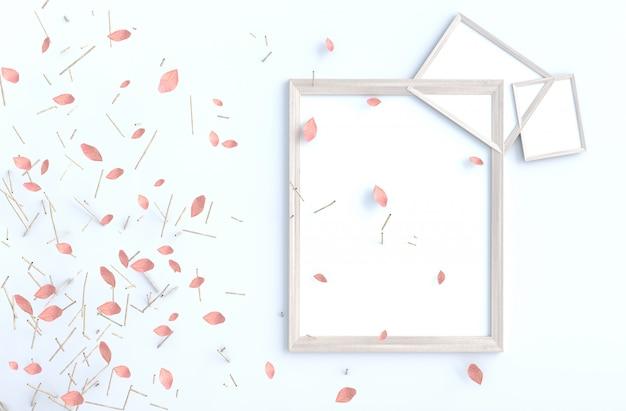 Branche d'arbre et souffler des feuilles roses sur un mur de ciment blanc avec cadre. rendu 3d de fond.