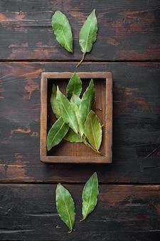 Branche de feuilles de laurier dans une boîte en bois sur la vieille table en bois sombre