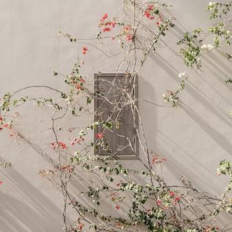 Branche de fleurs rouges et blanches, feuilles sur mur de béton beige neutre
