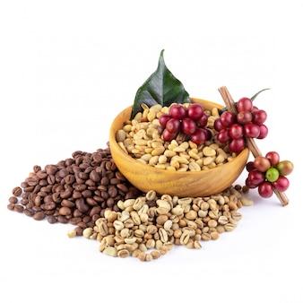 Branche de fruits rouges au café frais, grains de café et grains de café torréfiés