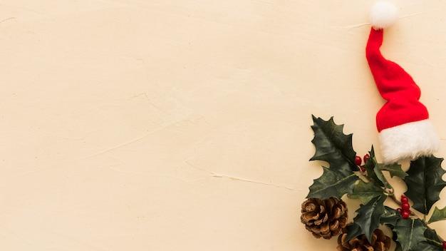Branche de houx avec petit bonnet de noel