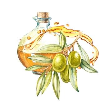Une branche d'olives vertes mûres est juteuse avec de l'huile. gouttes et éclaboussures d'huile d'olive.
