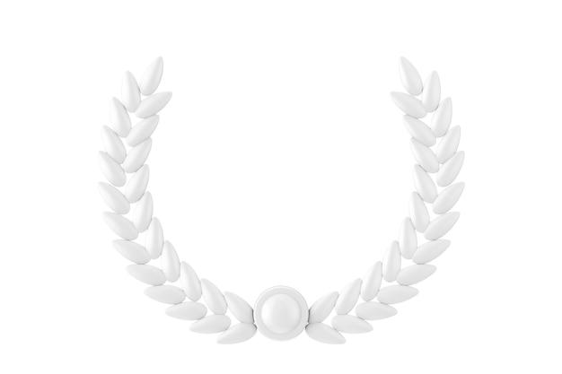 Branche d'olivier blanc laurel foliate dans le style d'argile sur un fond blanc. rendu 3d
