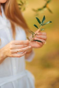 Branche d'olivier dans de tendres mains féminines
