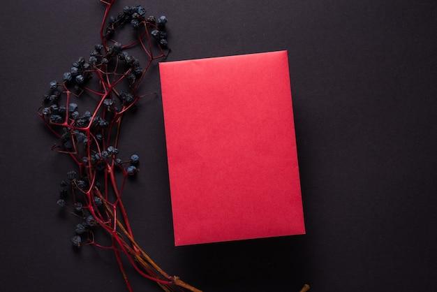 Branche de raisins sauvages et feuille de papier rouge sur fond noir