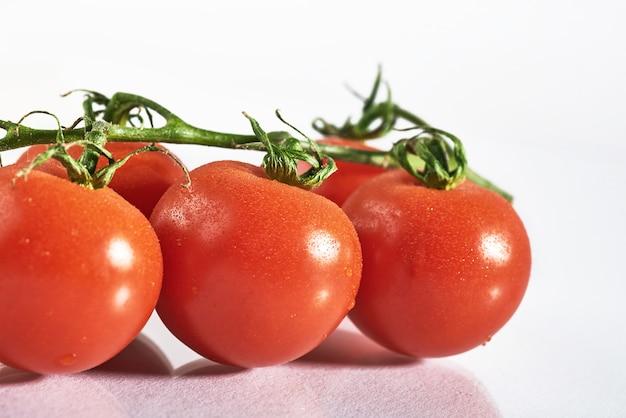 Branche de tomates biologiques rouges sur fond blanc.