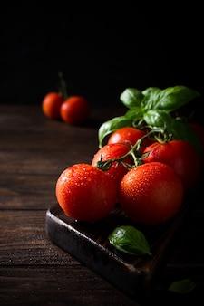 Branche de tomates naturelles mûres et feuilles de basilic