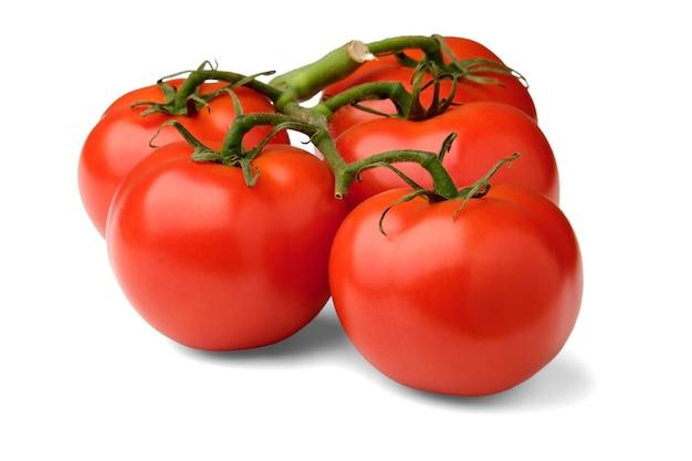 Une branche avec des tomates rouges en gros plan se trouve sur le côté et jette une ombre sur un fond blanc isolé.