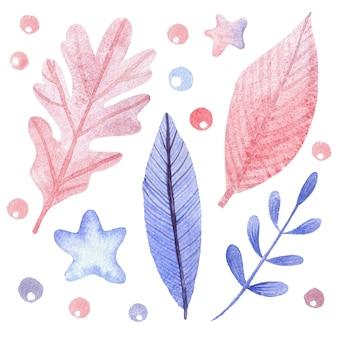 Branches aquarelles bleues et roses dessinées à la main, feuilles, étoiles. ensemble de fleurs et de feuilles lumineuses pour la décoration
