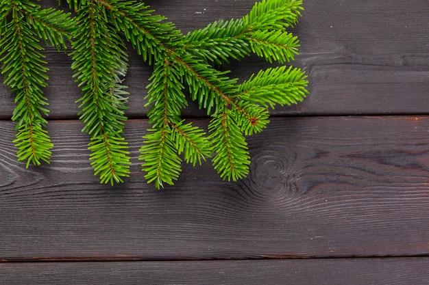 Branches d'arbres de pin de noël sur planche de bois.