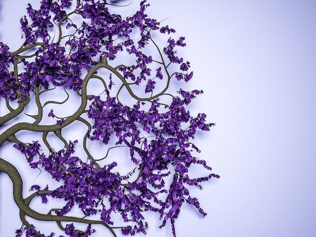 Branches étranges avec des feuilles sur fond violet. illustration 3d